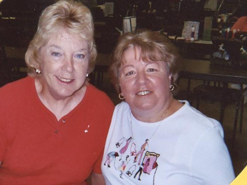 two smiling women at bingo