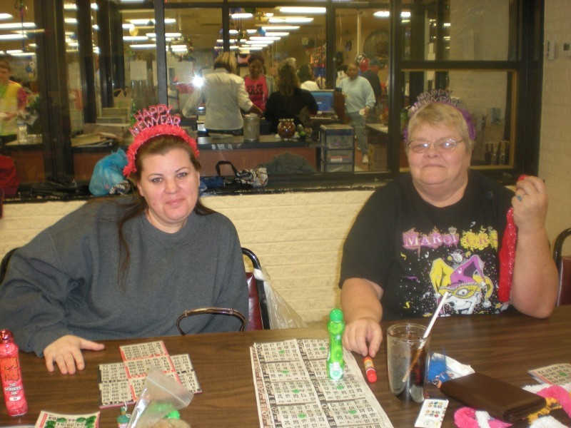 two women with bingo cards