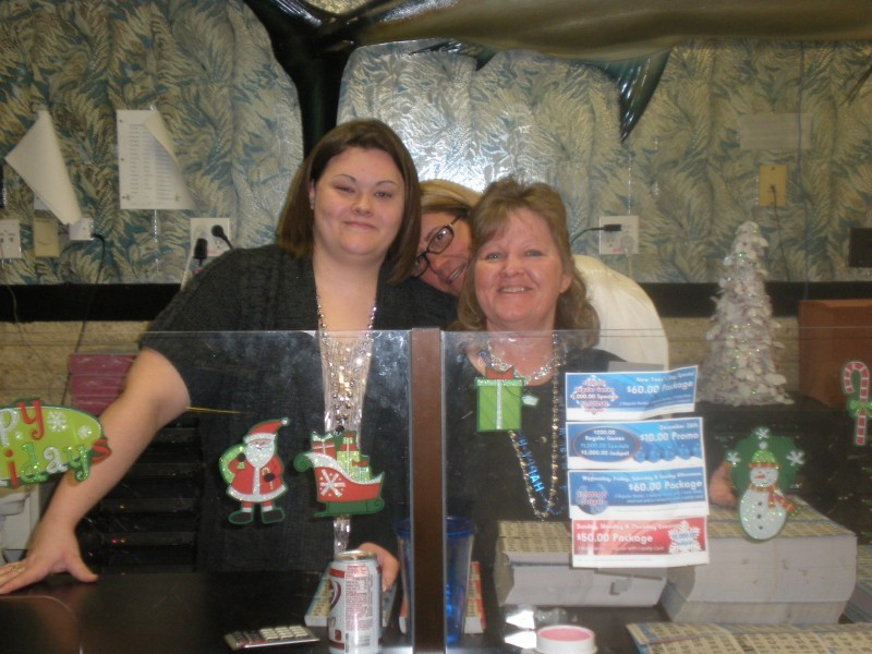 three women pose during bingo