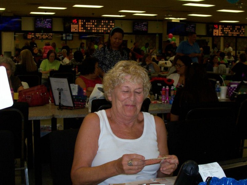 woman laughs at bingo