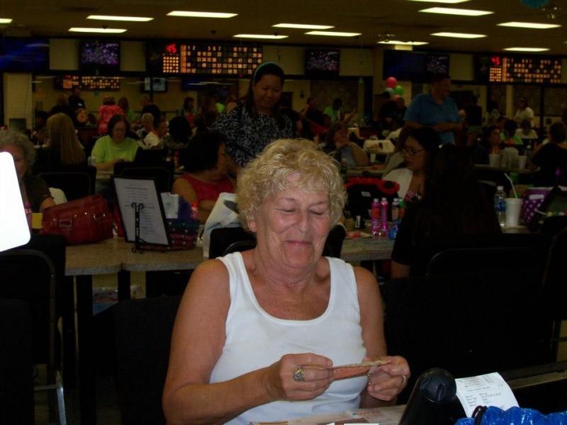 woman laughs at bingo