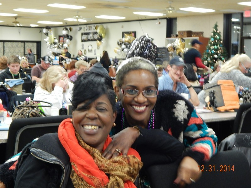 two women at a bingo new years celebration