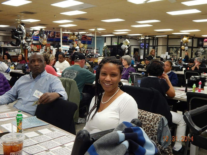 woman in white at new years bingo game
