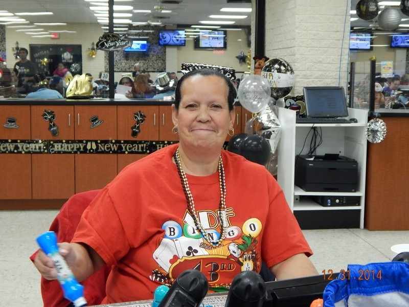 woman in red ADF bingo shirt