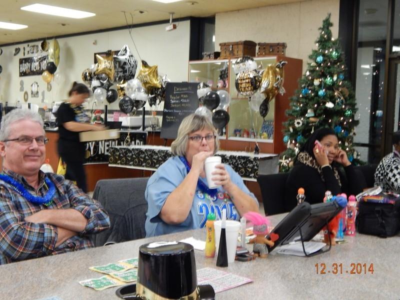 woman drinks at bingo celebration