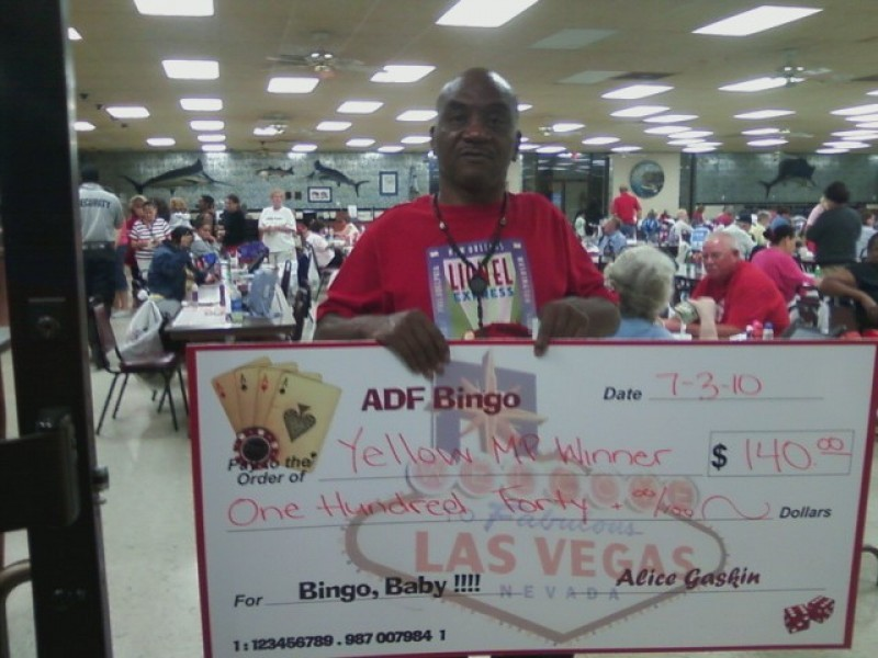 a man with his bingo winnings