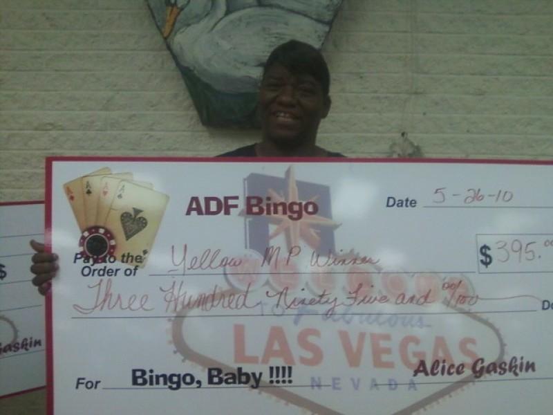 a woman's bingo check winnings