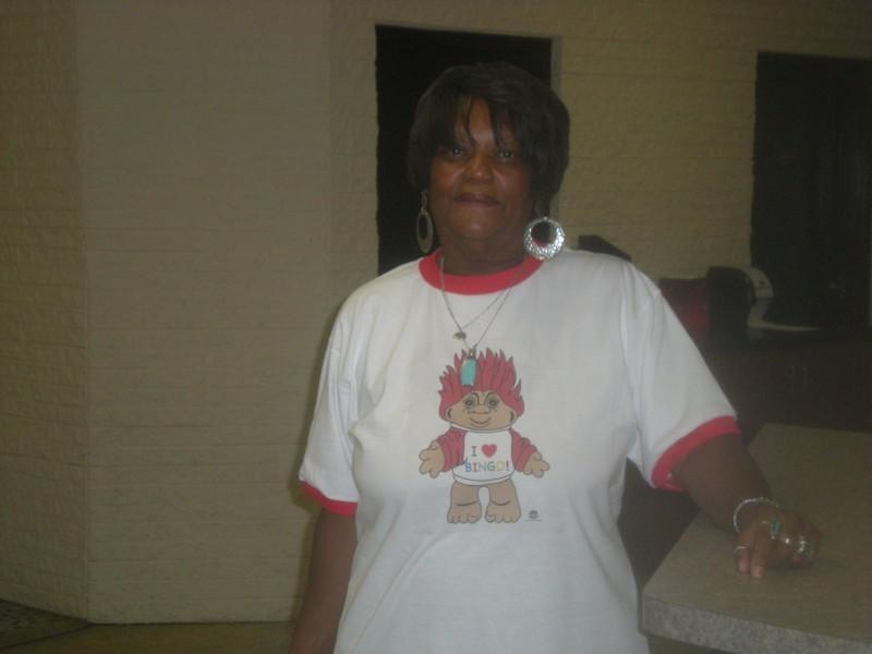 Woman in troll doll shirt