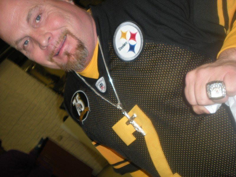 man in a Pittsburgh Steelers jersey