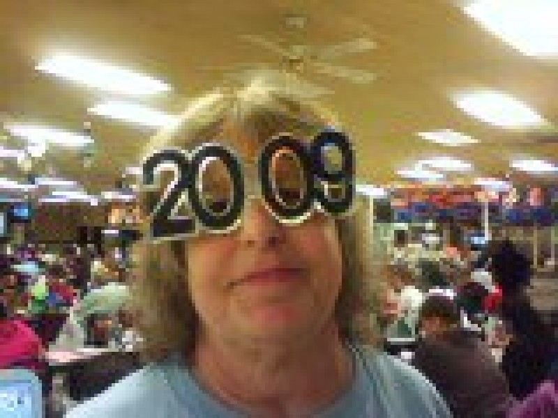 woman with a pair of 2009 glasses